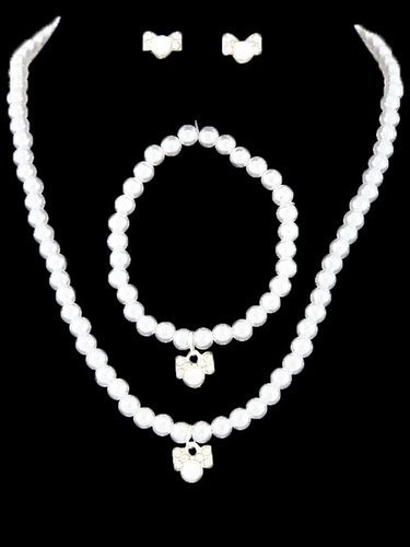Kid's White Bow Necklace Pearl Set