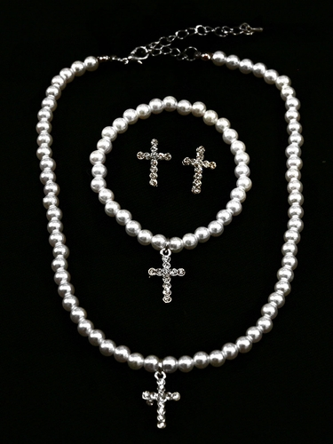 Kid's White Cross Pearl Set