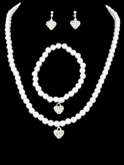 Kid's White Heart Necklace Pearl Set