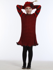 KidCuteTure Andrea Cherry Charcoal Knitted Dress