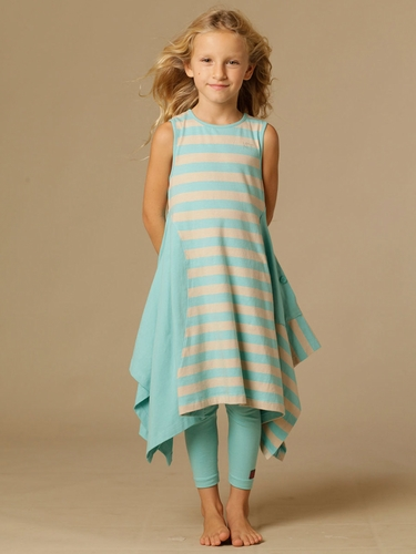 KidCuteTure Linda Beige / Seafoam Dress