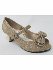 Kids Champagne Glitter Peep Toe Dress Shoe w/ Bow