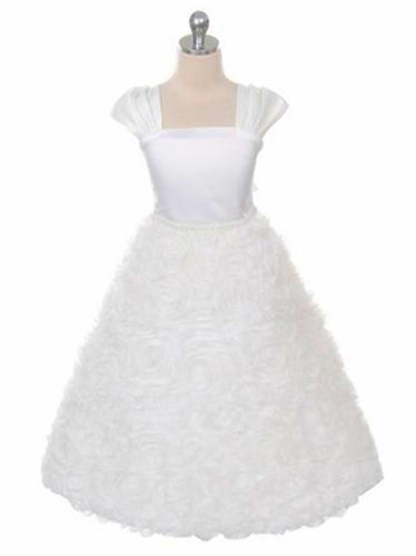 Kids Dream 320 White Satin Bodice Rosette Skirt Cap Sleeve Dress