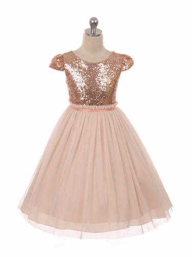 Kids Dream 410 Blush Pink Sequin Mesh Dress