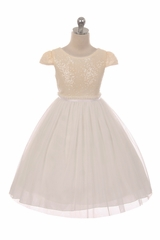 Kids Dream 410 Ivory Sequin Mesh Dress