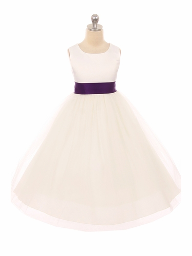 Kids Dream 411 Ivory Satin Tulle Dress w/ Removable Sash
