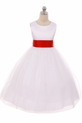Kids Dream 411 White Satin Tulle Dress w/ Removable Sash