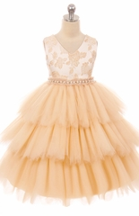 Kids Dream 412 Champagne Jacquard Triple Layer Tulle Dress