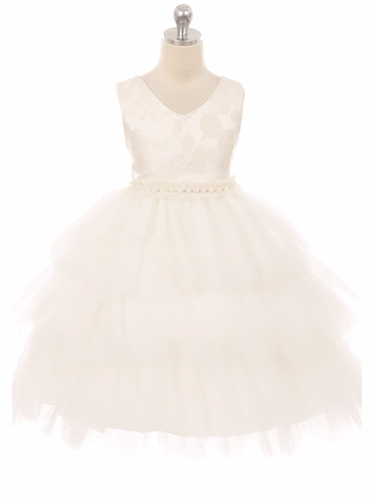 Kids Dream 412 Ivory Jacquard Triple Layer Tulle Dress