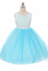 Kids Dream 414 Aqua Layered Lace Illusion Dress