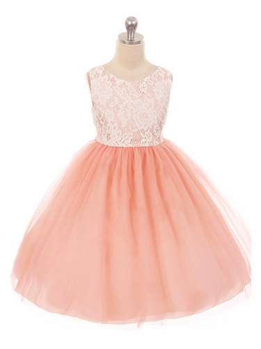 Kids Dream 414 Blush Pink  Layered Lace Illusion Dress