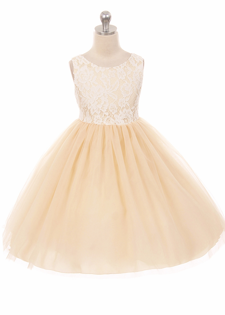 085167f80 ... Kids Dream 414 Champagne Layered Lace Illusion Dress. Click to Enlarge
