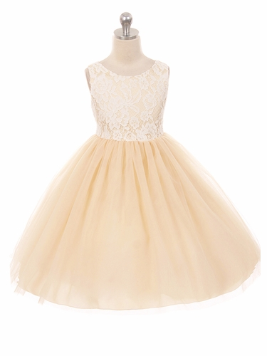 Kids Dream 414 Champagne Layered Lace Illusion Dress