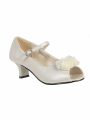 Kids Ivory Peep Toe Dress Shoe w/ Satin Flowers
