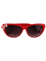 Kids Red Sunglasses w/ Rhinestone Bow