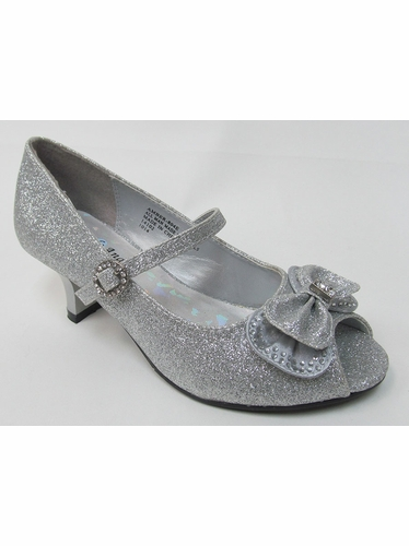 Kids Silver Glitter Peep Toe Dress Shoe w/ Bow
