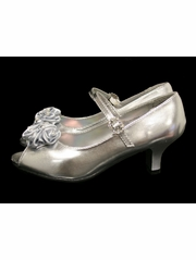 Kids Silver Peep Toe Dress Shoe w/ Satin Flowers