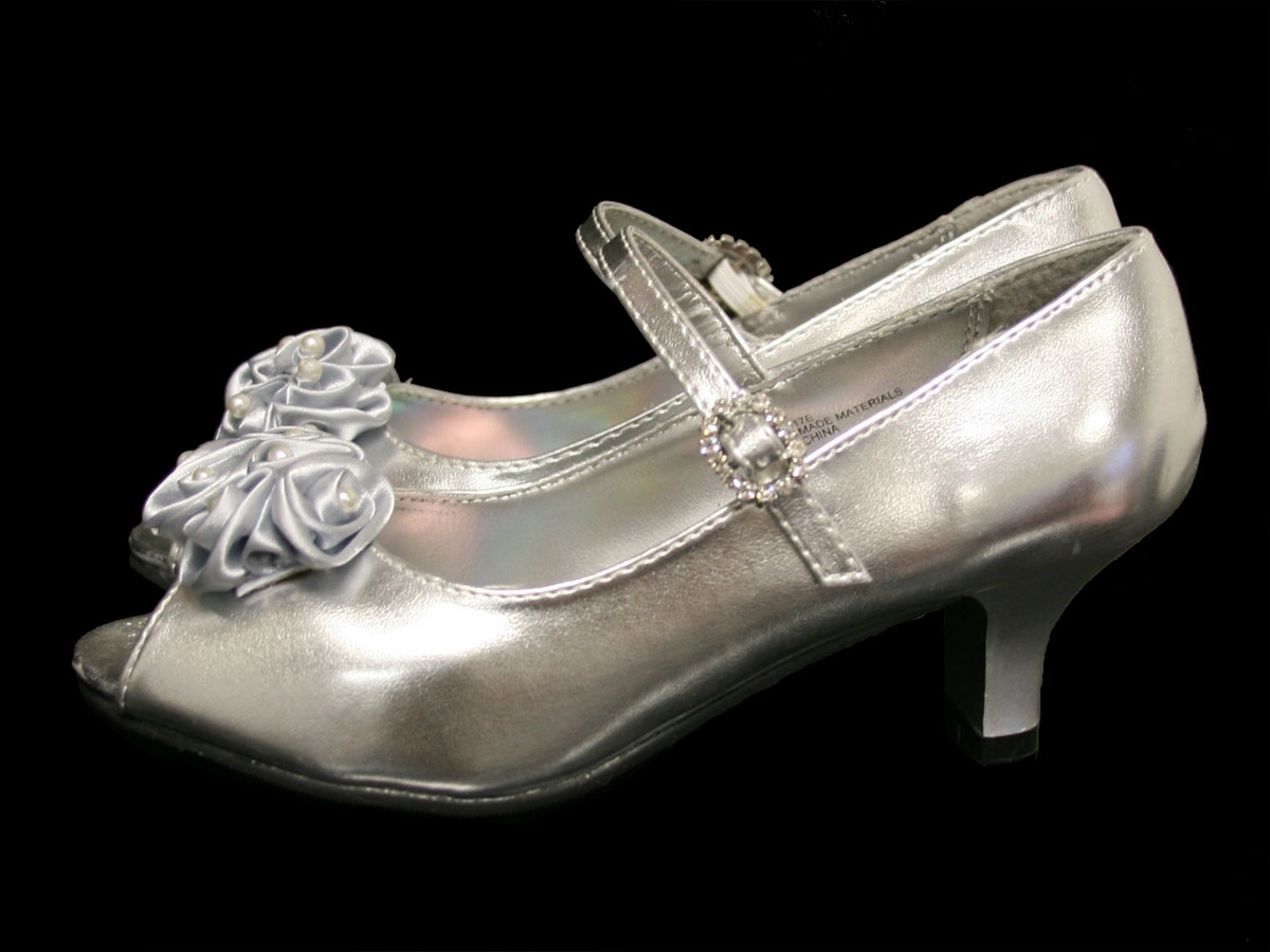 21ff2707951 ... Girl Shoes   Kids Silver Peep Toe Dress Shoe w  Satin Flowers. Click to  Enlarge ...