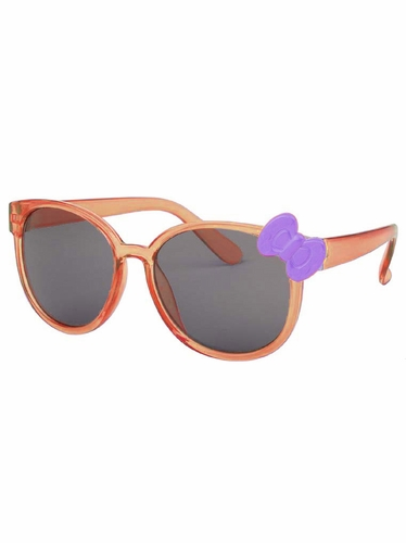 Kids Translucent Orange Frame Sunglasses w/ Lilac Bow