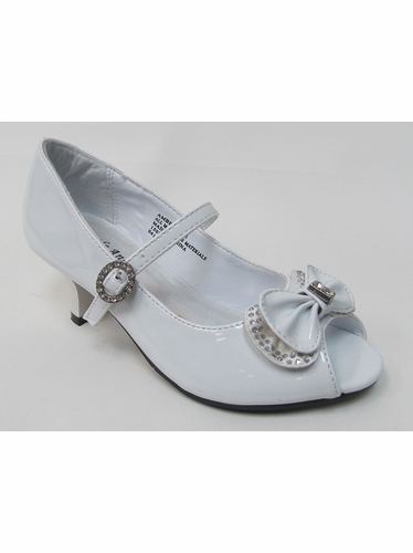 Kids White Peep Toe Dress Shoe w/ Bow