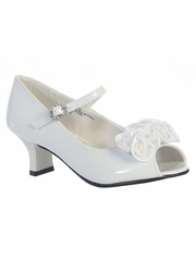 Kids White Peep Toe Dress Shoe w/ Satin Flowers
