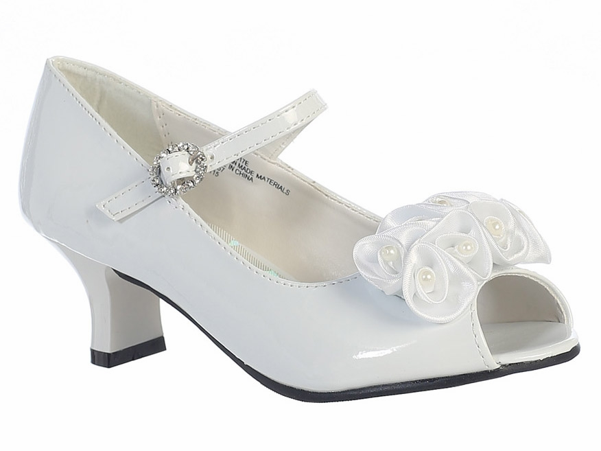 Kids White Peep Toe Dress Shoe w  Satin Flowers 65493bfacf4a