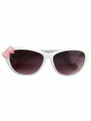 Kids White Sunglasses w/ Rhinestone Bow
