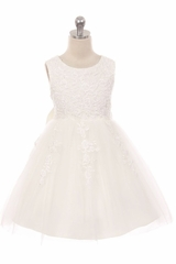 Kiki Kids 307 Ivory Sequins & Beaded Tulle Dress w/ Satin Bow