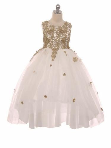 Kiki Kids 505 Gold Embroidered High Low Dress