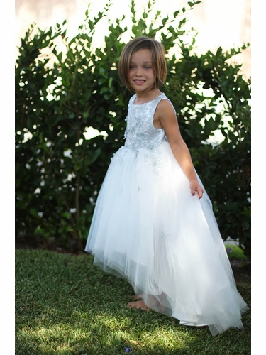 Kiki Kids 505 White/Silver Embroidered High Low Dress