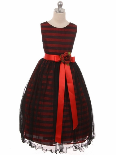 Kiki Kids 6395 Red & Black Stripe Dress w/ Ribbon & Flower