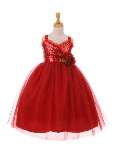 Kiki Kids 6411 Red Sequin Ruffle Trim Layered Tulle Dress