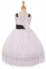 Kiki Kids 6412 Black White Glitter Sequin Polka Dot Dress