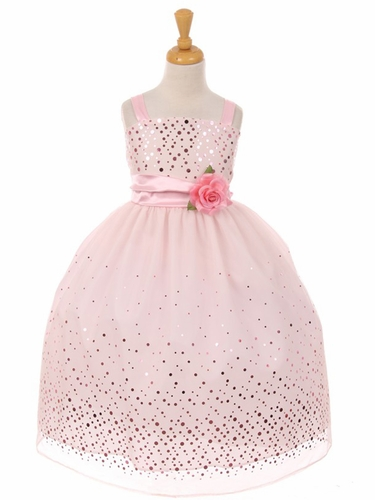 Kiki Kids 6412 Pink Glitter Sequin Polka Dot Dress