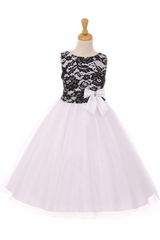 Kiki Kids 6413 Black & White Lace & Tulle Dress