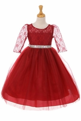 Kiki Kids 6416 Burgundy 3/4 Sleeve Lace & Tulle Dress w/ Rhinestone Belt