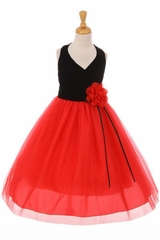 Kiki Kids 6418 Black & Red V-Neck Velvet & Tulle Dress
