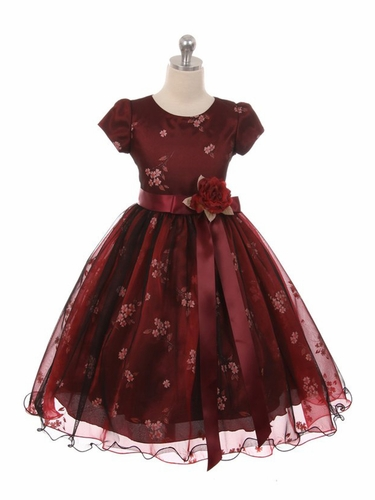 Kiki Kids 6419 Burgundy Mesh Organza Flower Dress