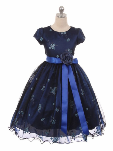 Kiki Kids 6419 Navy Blue  Mesh Organza Flower Dress