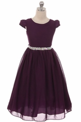 Kiki Kids 6420 Eggplant Chiffon Dress w/ Rhinestone Belt
