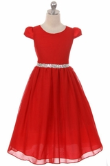 Kiki Kids 6420 Red Chiffon Dress w/ Rhinestone Belt