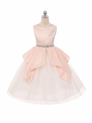 Kiki Kids 6430 Blush Satin & Tulle Dress w/ Waterfall Pleats
