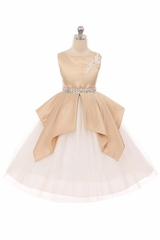 Kiki Kids 6430 Champagne Satin & Tulle Dress w/ Waterfall Pleats