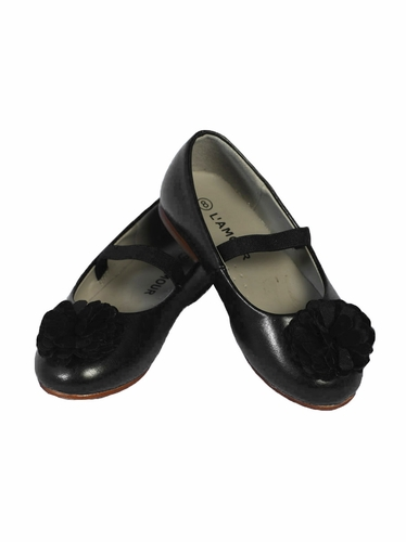 L'Amour Girls Black Dress Shoes w/ Flower Pom