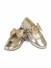 CLEARANCE - L�Amour Gold Girls Dress Shoes w/ Bow Strap