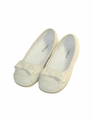 CLEARANCE - L'Amour Patent Cream Ballet Bow Flat