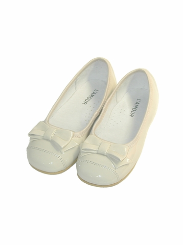L'Amour Patent Cream Ballet Bow Flat