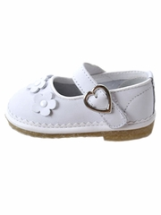 CLEARANCE - L'Amour White Super-Soft Leather Mary Jane Shoes