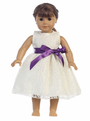 "Lace Dress w/ Sash 18"" Doll Dress"