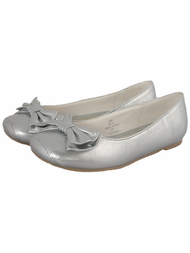 Laura Ashley Silver Patent Girls Ballerina Flat Shoes